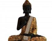 Gorgeous Black Gold Buddha Meditative Pose In Fiber HNM-HHDE-10007