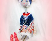 Unique birthday gift  For Women Kids Collectible doll Baby Soft sculpture Nursery Room decor Fabric Art Stuffed Rabbit Bunny Handmade