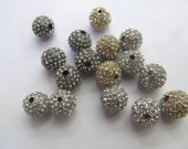 High Quality  20pcs 6-14mm,Micro Pave Crystal black silver gold Shamballa Ball beads, Micro Pave Hematite  Findings Charm, Round Ball Spacer