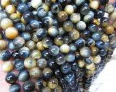 "Full strand 16"" Yellow blue   Tiger Eye Gemstone Hawk Eye Loose Beads  Blue  golden green Tiger eyes necklace Bracelet 8mm"