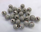 20%off--50pcs 6-12mm Pave Micro CZ crystal  Pave Bling Beads  White silver crystal Mixed color CZ Bead,Black Gunmetal Round  Loose bead