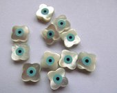 High Quality Clove  Shell Jewelry blue white mother of pearl shell Turkish evil eye Fluorial crown drop coin ead supplies 24pcs 6-12mm