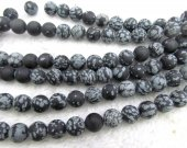 Wholesale 2strands  Natural  snow black  Jasper  Bead  round 4-12mm gemstone beads crab   loose beads