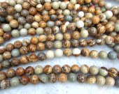 2strands  GEM Picture JASPER Beads in Golden Brown purple red  and Tan  Round Ball Grey Jasper beads 4-12mm