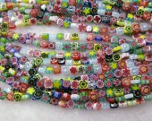 2strands 4-12mm High Quality Glass Chevron Beads Cubic Box Fluorial flower pattern European Beads Vitange Loose Jewelry