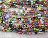 2strands 4-12mm High Quality Glass Chevron Beads Cubic Box Fluorial flower pattern European Beads Vitange Loose Jewelry