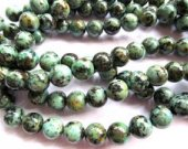 2strands 3-16mm African Turquoise Gemstone Green Brown Round Ball  Turquoise Beads