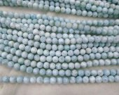 A+ 6-12mm 16inch Larimar Stone , Larimar Bead Smooth Bead, Natural Stone, Semi Precious Bead, Gemstone Blue Bead Larimar Necklace