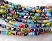 2strands 6-12mm High Quality Glass Chevron Beads rice Barrel Fluorial flower pattern European Beads Vitange Loose Jewelry
