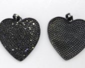 Top Quality 6pcs 30mm Micro Pave Diamond Heart Pendant, Pave Black Diamond CZ Pendant,  Heart Charm,Heart Ring Jet Gunmetal beads