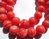 Wholesale 5strands 4-12mm  Synthesize Turquoise Beads - Round Ball Cherry Pink Red Veins Jewelry Beads