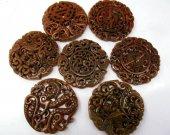 "2pcs larger  Handmade Ancient Jade Pendant Rare Animals Carved Jade Gemstone Bead 70mm(2.4"")"