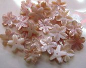 high quality  50pcs 8-15mm Pink MOP Shell Fluorial  5-Petal Caps Rose Flower Carved Purple Pink Red shell Beads