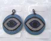 Sapphire blue Diamond Crystal  Eyes  Micro Crystal Pave Diamond Pendant gunmetal Jewelry Focal   Round Disc Evil Jewelry beads 28-40mm 2pcs