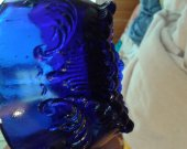 "3 mold Whatnot Scallop edged footed ""Santa"" dish in Cobalt Blue"
