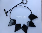 Statement Buffalo HORN necklace in natural black color, 18.9™™ length [TTC014]