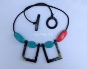 Statement Buffalo HORN Necklace jade and red lacquer, 19.6™™ in length [TTC013]
