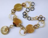 Stunning Long Chain Buffalo HORN Necklace Honey Amber 31.4 inches in length [TTC001]
