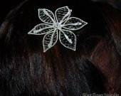 Silver Flower Hair clip, Bridal hair clip, Alligator hair clip, Wedding jewelry, Hair Jewelry, elven flower, wire hair clip, elvish jewelry