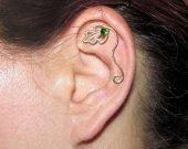 Leaf cartilage stud, helix piercing, cartilage earring, cartilage piercing, Fantasy Earring, wire cartilage stud, Dryad earring