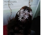 Silver Flower headpiece, Elven Headdress, Wedding headpiece jewelry, Elven Wedding, elvish jewelry