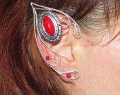 Red Silver Elf Ears, elven ears, fairy ears, elf ear cuff, elf cosplay, LARP, elvish jewelry, no piercing earrings, fantasy jewelry