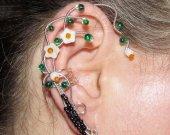Earth Elemental ear cuff, Elemental jewelry, earth magic, dryad ear cuff, no piercing earrings, wire ear cuff, elf ear wrap, Cosplay jewelry
