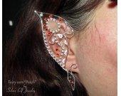 Fairy Ears - Peach, fairy costume, Peach Fairy, Elven Wedding, fairy ear cuff, fairy ear wraps, cosplay, LARP, elvish jewelry, elf ear cuff