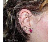 Flower ear cuff, dryad ear cuff, fairy ear cuff, no piercing earrings, elvish jewelry, wire ear cuff, elf ear cuff, elegant ear cuff