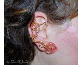 Love Whispers ear cuff, Romantic ear cuff, no piercing earrings, heart ear cuff, cherry quartz, elvish jewelry, cuff earrings