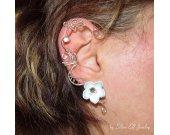 Moon Garden ear cuff, no piercing earrings, flower ear cuff, Elf Earrings, elvish jewelry, wire ear cuff, elf ear cuff, elegant ear cuff