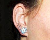 Ear climber, Elven Flowers ear studs, flower earrings, dryad earrings, wire ear studs, elf ear studs, Cosplay jewelry, dryad earrings