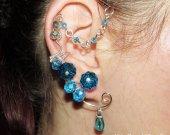 Water Elemental ear cuff, Elemental jewelry, no piercing earrings, water magic, wire ear cuff, elf ear wrap, Cosplay, Naiad, elvish jewelry