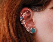 Waves ear cuff, no piercing earrings, cuff earrings, Elf Earrings, Fantasy Earrings, wire ear cuff, blue jewelry, sea blue ear cuff