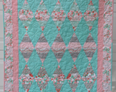 Diamonds and Butterflies Modern Quilt Conteporary Fabric Prints Baby Girl Quilt Kids Quilt Pink 37x 43