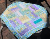 Floral quilt table topper pastel colors wall hanging bright flowers garden quilt gift for garden quilt shop quilts