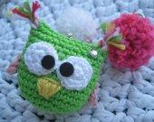 Amigurumi owl and pom pom keychain, bag charm