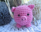 Little pink piglet keychain and bag charm amigurumi, pig keychain, amigurumi keychain