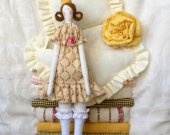 Tilda Textile panel Princess and the Pea Doll Cloth doll Soft toy Rag doll Hanging decor Fabric doll Kids room decor