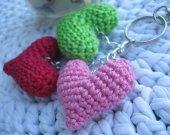 Amigurumi hearts keychain and bag charm, heart keychain, heart charm, sweet hearts keychain
