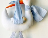 Handmade decoration A Stork with a baby - boy