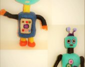2 OOAK Robot Figures Decorative Toys Made from Felt-Wool