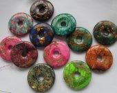 6pcs  imperial Jasper gem malachite Amazonite rock  jade stone picture jasper  Donut Pi Donut Focal Pendant round beads 30-50mm