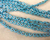 High Quality  50pcs 5mm Shell Jewelry blue white mother of pearl shell Turkish evil eye beads round loose beads  blue DIY findings supplies