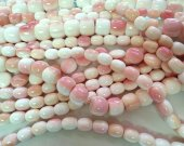 High Quality Natural Pink  Conch Shell jewelry Baby Pink Barrel Drum rice  Conch Necklace Beads 8-20mm full strand