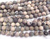 2strands 4-12mm GEM Picture JASPER Beads in Golden Brown purple red  and Tan  Round Ball Grey Jasper beads