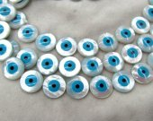 High Quality  25pcs 16mm Shell Jewelry blue white mother of pearl shell Turkish evil eye beads round loose beads  blue DIY findings supplies