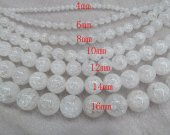 AA+ 2strands 4-16mm NaturaLCrystal Quartz Gemstone Round Ball Rock cracked Matte smooth Beads jewelry for Make Necklace