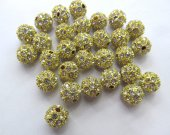 wholesale 50cs 8-12mm Bling Micro Pave Crysta Shamballa Ball beads, Micro Pave Hematite  Gold  Findings Charm, Round Ball Spacer