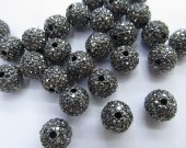 High Quality  100pcs 6-14mm,Bling Micro Pave Crystal grey Shamballa Ball beads, Micro Pave Hematite Black Findings Charm, Round Ball Spacer